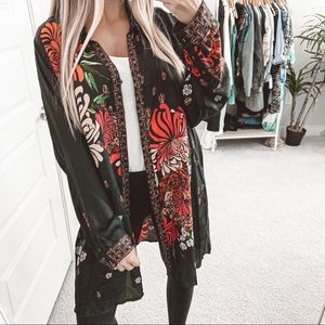 Johnny Was Carro Button Down Floral Silk Tunic